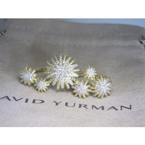 David Yurman Starburst 18K Yellow Gold with 0.46ctw. Diamond Double Ring Size 7