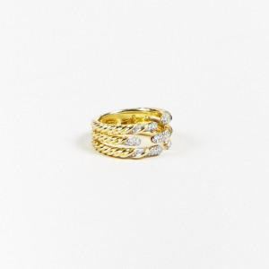 "David Yurman 18K Yellow Gold with 0.45ct Diamond 3 Band ""Willow"" Cable Ring Size 6"