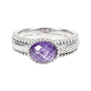 Judith Ripka Sterling Silver & Amethyst Ring Size 9