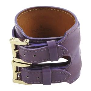 Louis Vuitton Leather Gold Tone Double Buckle Cuff Bracelet