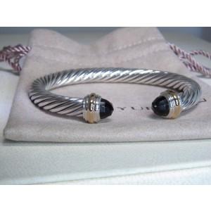 David Yurman 14K Yellow Gold and Sterling Silver Onyx Cuff Bracelet