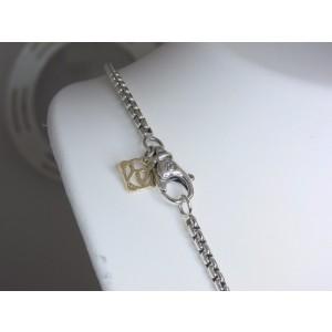 David Yurman Sterling Silver 14K Yellow Gold Tag Box Chain Necklace