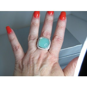 David Yurman Albion Sterling Silver Aqua Chalcedony Diamond Ring Size 7