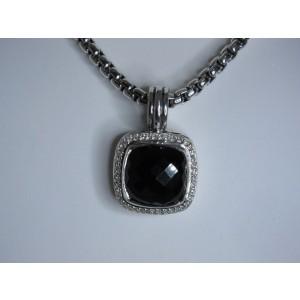 David Yurman Sterling Silver Onyx and Diamond Pendant
