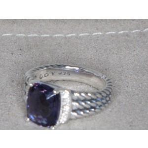David Yurman Wheaton Sterling Silver Amethyst and Diamond Ring Size 7