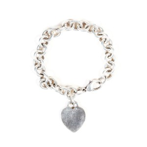 Tiffany & Co. Sterling Silver Heart Tag Chain Link Bracelet