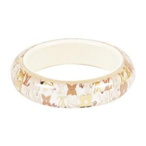 Louis Vuitton Gold Tone Flower Bangle Bracelet