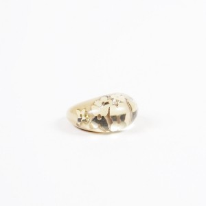Louis Vuitton Gold Tone Crystal Inclusion Ring Size 5.5