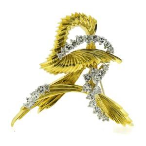 Henry Dunay Diamond 18K Yellow Gold Pin Brooch