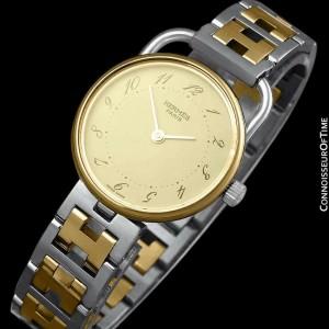 HERMES ARCEAU Ladies Bracelet 18K Gold Plated & SS Steel Watch - Mint - Warranty
