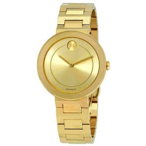 MOVADO BOLD 3600498 GOLD TONE LADIES GOLD DIAL SWISS QUARTZ 34MM WATCH