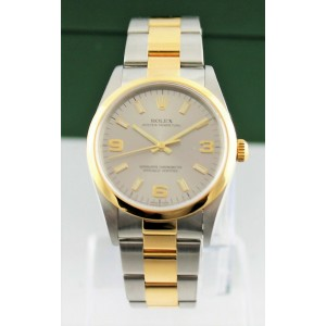 Original Rolex Oyster Perpetual 18k Yellow Gold & Steel 14203 Arabic Dial Watch
