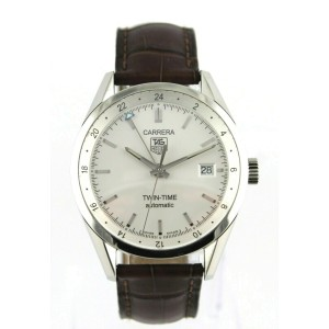 TAG HEUER CARRERA WV2116.FC6181 BROWN LEATHER AUTO SILVER MENS LUXURY WATCH