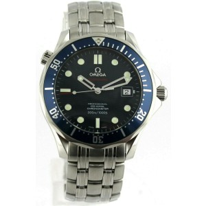 OMEGA SEAMASTER 2220.80 AUTOMATIC CO AXIAL MENS BLUE LARGE LUXURY WATCH PAPERS