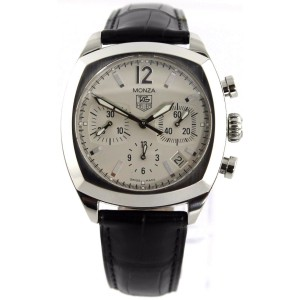 TAG HEUER MONZA CR2114.FC6164 AUTOMATIC CHRONO BLACK LEATHER MENS LUXURY WATCH
