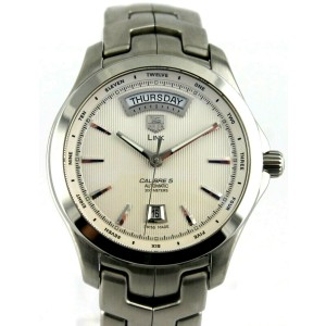 TAG HEUER LINK WJF2011.BA0592 DAY DATE EXHIBITION BACK MENS SILVER SWISS WATCH