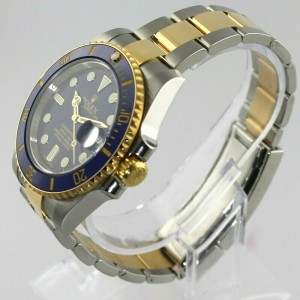 ROLEX SUBMARINER 116613 18K GOLD CERAMIC MENS 40MM AUTO BLUE WATCH BOX PAPERS