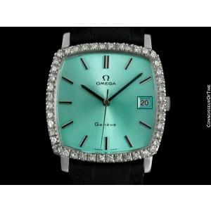 1970's Omega Geneve Vintage Mens SS Steel & Diamond Watch - Mint with Warranty