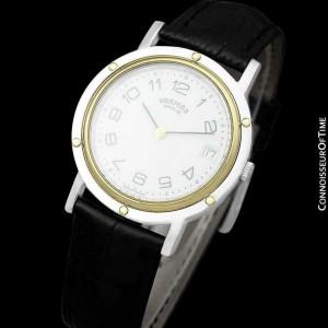 Hermes Clipper 2-Tone Quartz SS Steel & 18K Gold Pl. Watch - $5,350 Mint