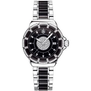 TAG HEUER  FORMULA 1 WAH1219.BA0859 DIAMOND BEZEL BLACK CERAMIC LADY MINT WATCH
