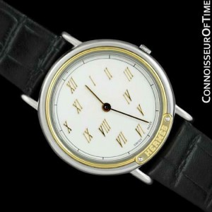 HERMES METEORE Mens Stainless Steel & Solid 18K Gold Watch - Mint with Warranty