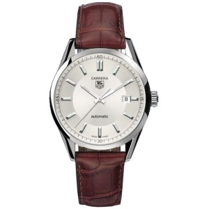 TAG HEUER CARRERA WV211A.FC6181 BROWN  LEATHER AUTO SILVER MENS LUXURY WATCH