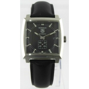 TAG HEUER MONACO WW2110.FC6171 AUTOMATIC BLACK LEATHER MENS LUXURY WATCH