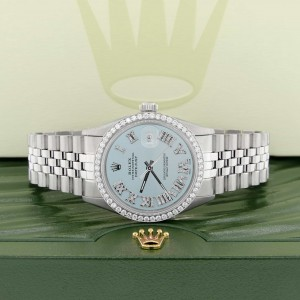 Rolex Datejust 36MM Automatic Stainless Steel Watch w/Baby Blue Roman Dial & Diamond Bezel