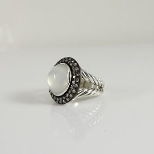 David Yurman Sterling Silver .65tcw 14mm Moonstone Quartz Diamond Cerise Ring