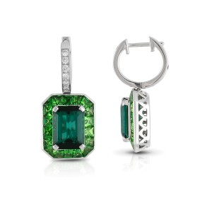 Roberto Coin Art Deco 18k White Gold Green tourmaline, green tsavorite garnet Earrings