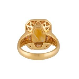 Roberto Coin Art Deco 18k Yellow Gold Citrine, orange sapphire Ring