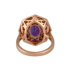Roberto Coin Art Deco 18k Rose Gold Amethyst, ruby Ring