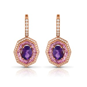 Roberto Coin Art Deco 18k Rose Gold Amethyst, pink sapphire Earrings