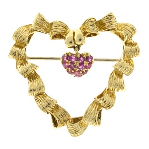 Tiffany & Co. 18K Yellow Gold with 0.80ct. Ruby Pin Brooch