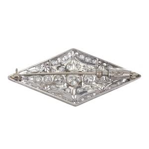 Vintage Art Deco 3.75ctw Old European Cut Diamond Platinum and White Gold Pin