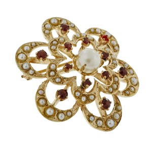 14K Yellow Gold Pearl Garnet Circle Flower Pin Pendant