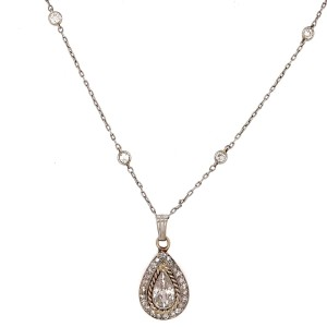 Diamond By the Yard Pear Shaped Cut Diamond Necklace
