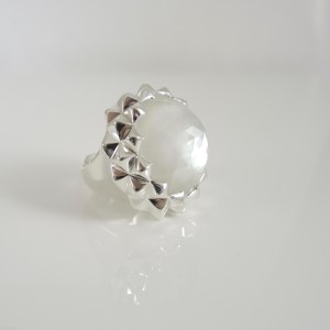 Stephen Webster Sterling Silver Mother of Pearl Crystal Doublet Superstud Ring