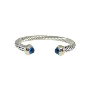 David Yurman Sterling Silver 14K Yellow Gold 7mm Blue Topaz Color Classsics Bracelet