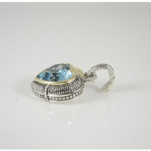 Judith Ripka Two Sterling Silver 18K Yellow Gold .03tcw Blue Topaz Diamond Heart Enhancer