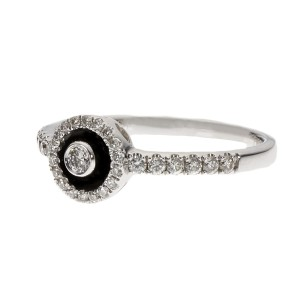 14K White Gold Enamel & Diamond Ring Size 6.75