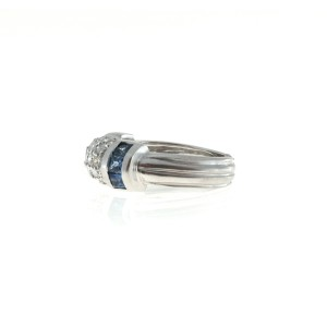 Judith Ripka 18K White Gold 0.75ct Diamond in Dome and .60ct Blue Ceylon Sapphire Vintage Ring Size 5.25