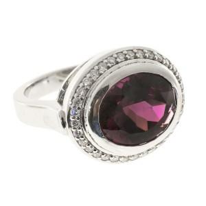 Platinum Garnet & 0.34ct Diamond Ring Size 6.5