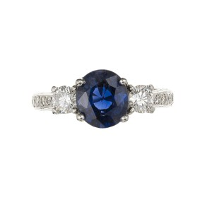 Peter Suchy Platinum with 2.48ct Royal Blue Sapphire and Diamond Ring Size 6.75