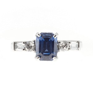 Natalie K Platinum with 2.46ct Emerald Cut Sapphire & Diamond Vintage Ring Size 7