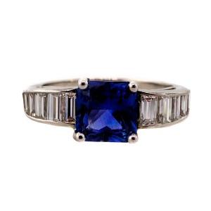 cc7afdddd Vintage Platinum 1.79ctw Cornflower Blue Sapphire and Diamond Art Deco  Engagement Ring Size 6.5   Buy at TrueFacet