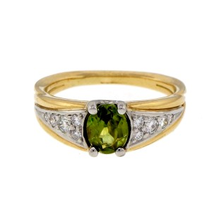 18K Yellow Gold and Platinum 1.01ct Garnet & Diamond Ring Size 7