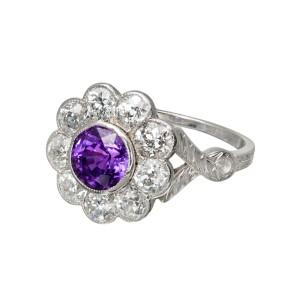 Platinum 1.78ct Sapphire & Diamond Ring Size 7.25