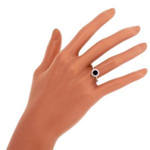 14K White Gold 0.90ct Royal Blue Sapphire & 0.35ct Diamond Ring Size 7.5