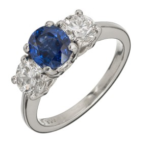 Peter Suchy Platinum with 1.25ct Blue Sapphire and 0.92ct Diamond Engagement Ring Size 5.5